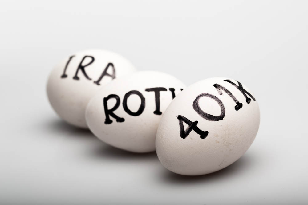 Ira Roth 401K written on to 3 eggs on Grey Background